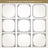 De decoratieve vierkante kaders en de grenzen plaatsen vector 8 Stock Fotografie