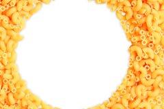De deegwarenclose-up van de macaronihoek met exemplaar ruimte en het knippen weg royalty-vrije stock fotografie