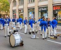 De deelnemers van de Zwitserse Nationale Dag paraderen in Zürich, Switzer Royalty-vrije Stock Fotografie