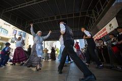 De deelnemers van het Porto folklorefestival Festival DE Folclore doen Orfeao doen Porto stock afbeeldingen