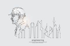 De deeltjes, de geometrische kunst, de lijn en de punt van techniek royalty-vrije stock afbeelding