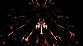 De deeltjes van het Carnavalvuurwerk op geïsoleerde zwarte achtergrond stock fotografie