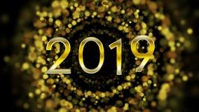 De deeltjes videoanimatie van nieuwjaar 2019 gouden bokeh royalty-vrije illustratie