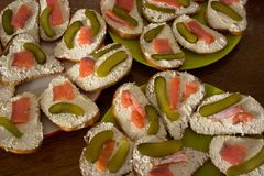 De Deense gezonde open sandwiches van Smorrebrod stock fotografie