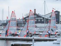 De Deense Winter die met 29ers varen stock afbeeldingen