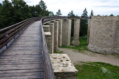 De defensiebrug van het kasteel Stock Afbeeldingen