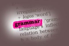 De Definitie van het grammaticawoordenboek Stock Foto