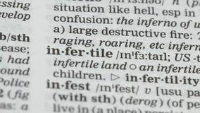 De definitie van het onvruchtbaarheidswoord in Engels woordenboek, onbekwaamheid ho heeft kinderen stock footage