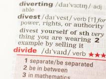 De definitie van het woord verdeelt Stock Foto