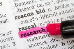 De Definitie van het Woordenboek van het onderzoek royalty-vrije stock afbeeldingen