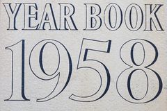 De dekking van het jaarboek 1958 Stock Foto
