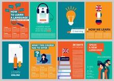 De dekking van de onderwijsbrochure Opleiding en cursussen vectortijdschrift dekkingsmalplaatjes stock illustratie