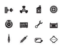 De Delen van de silhouetauto en de Dienstenpictogrammen Stock Foto's