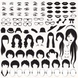 De delen van het vrouwengezicht, Stock Afbeelding