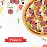 De delen van pizzaingrediënten op bord, met ondertekende ingrediënten Royalty-vrije Stock Afbeelding