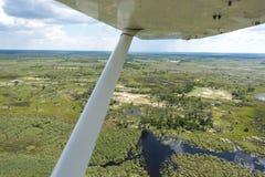De Delta van Okavango die van een vliegtuig wordt bekeken Stock Foto