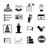 De democratiepictogrammen van de verkiezingsstem Stock Foto