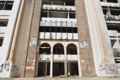 De democratische Constitutionele die bouw van de Verzamelingspartij tijdens de Arabische lente in Sfax, Tunesië wordt geruïneerd Stock Foto