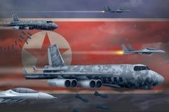De democratische Luchtmacht die van de Volksrepubliek van Korea Noord-Korea stakingsconcept bombarderen Het democratische Noorden Stock Foto's