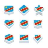 De democratische republiek van de Kongo markeert pictogrammen en knoopreeks Stock Foto