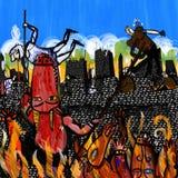 De demonnen beklimmen een muur en aanvallen Royalty-vrije Stock Afbeelding