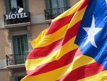 De demonstratie van Barcelona voor onafhankelijkheidsdetail stock afbeelding