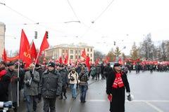 De demonstratie van de massa van Russische linkerzijde op 7 November Stock Fotografie