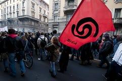 De demonstratie van de student in Milaan 14 december, 2010 Royalty-vrije Stock Afbeelding