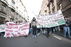 De demonstratie van de student in Milaan 14 december, 2010 Stock Foto's