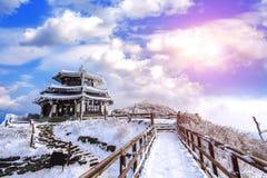 De Deogyusanbergen wordt behandeld door sneeuw in de winter Korea royalty-vrije stock foto