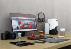De Desktop van de productontwerper vector illustratie