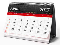De Desktopkalender van april 2017 3D Illustratie Stock Afbeelding