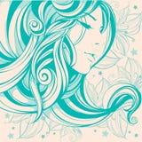 De dessin graphique de visage de fille de cheveux boucles longtemps Images stock