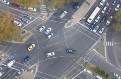 De dessus vue vers le bas d'une intersection image libre de droits