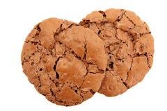De dessus vue vers le bas d'une paire de biscuits caoutchouteux de chocolat Photos stock