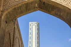 De details van de bouw De Moskee Kalyan Één van de oudste en grootste Moskee in Centraal-Azië Hoofdkathedraalmoskee van Boukhara stock foto