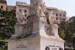 De details van Christopher Columbus Monument in Genua, Italië, Europa royalty-vrije stock foto's