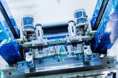 De details van de het metaalmachine van het drukonderzoek Stock Foto