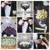 De details van het huwelijk collage stock afbeeldingen
