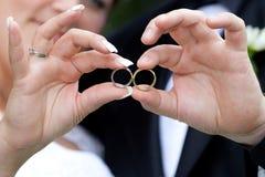 De details van het huwelijk - ringen Stock Afbeeldingen