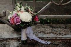 De details van het huwelijksboeket Stock Afbeeldingen