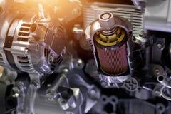 De details van het de motor van een autodeel van het besnoeiingsmetaal royalty-vrije stock foto