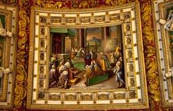 De Details van het Plafond van de Zaal van de Kaart van het Museum van Vatikaan stock afbeelding