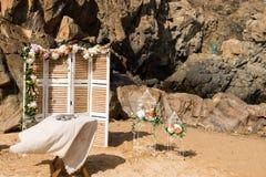 De Details van het strandhuwelijk stock foto