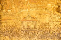 De details van de kunst van Laos ` s in Wat Mai in Luang Pra worden geschoten die bonzen stock afbeeldingen