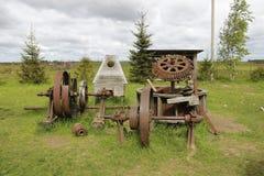 De details van de windmolen van het openluchtmuseum Dudutki Wit-Rusland royalty-vrije stock foto's