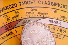 De detectormeter van het muntstuk stock foto's