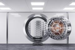 De deur van de bankkluis in gebouwbank Het concept van de veiligheid 3d stock foto
