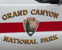 De deur van de bereden politieauto in Grand Canyon Royalty-vrije Stock Foto