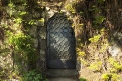 De deur van de geheimzinnigheid in het bos Stock Foto's